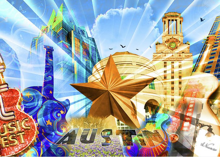 Montage Greeting Card featuring the sculpture Atx Montage by Andrew Nourse