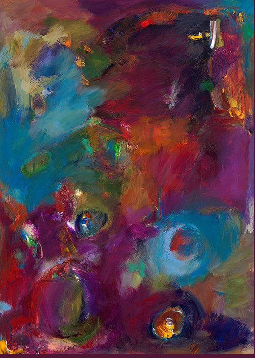 Abstract Expressionistic Artwork Greeting Card featuring the painting Aubergine Mist by Johnathan Harris