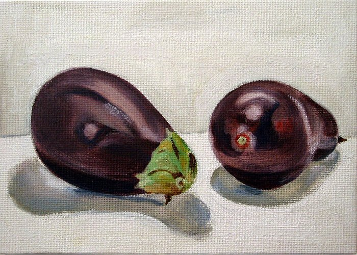 Still-life Greeting Card featuring the painting Aubergines by Sarah Lynch