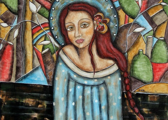 Paintings Greeting Card featuring the painting Aubrey by Rain Ririn
