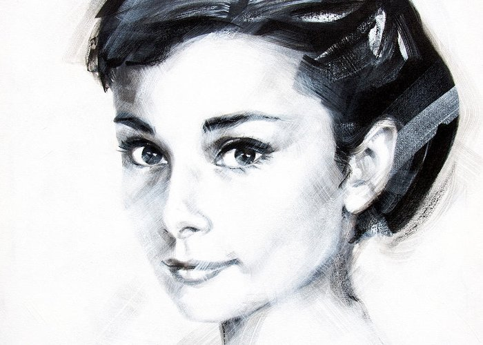 Audrey Greeting Card featuring the painting Audrey 1 by Jean Pierre Rousselet