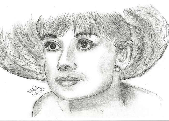 Audrey Hepburn Greeting Card featuring the drawing Audrey Hepburn Smile by Steven White