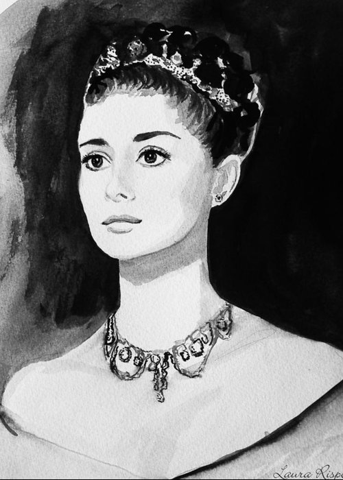 Audrey Hepburn Greeting Card featuring the painting Audrey by Laura Rispoli