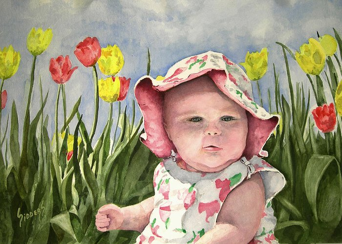 Kids Greeting Card featuring the painting Audrey by Sam Sidders