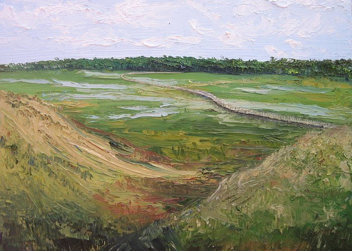 Marsh Greeting Card featuring the painting August Marsh Boardwalk by Kayla Race