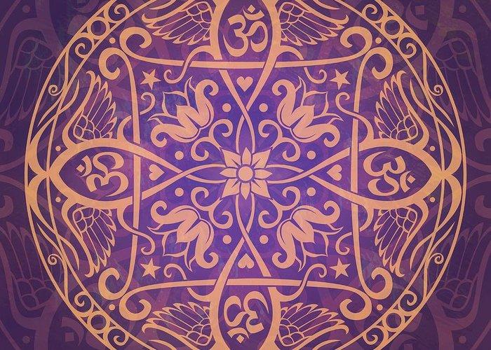 Mandala Greeting Card featuring the digital art Aum Awakening Mandala by Cristina McAllister