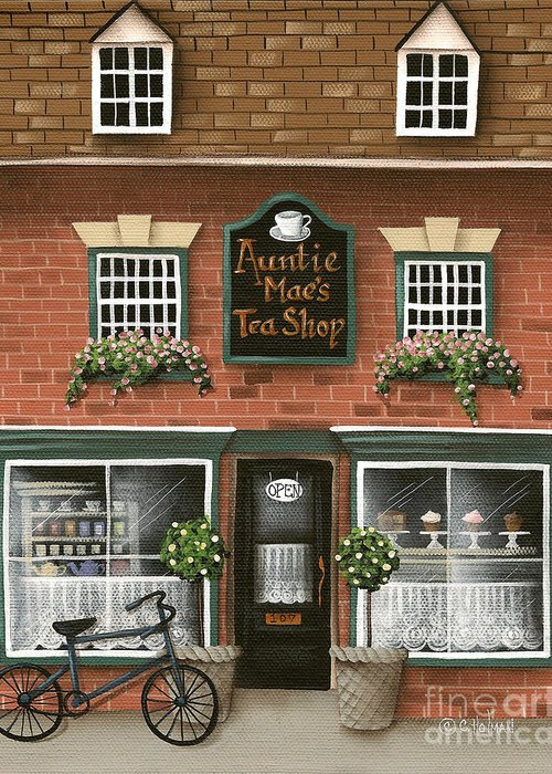 Art Greeting Card featuring the painting Auntie Mae's Tea Shop by Catherine Holman