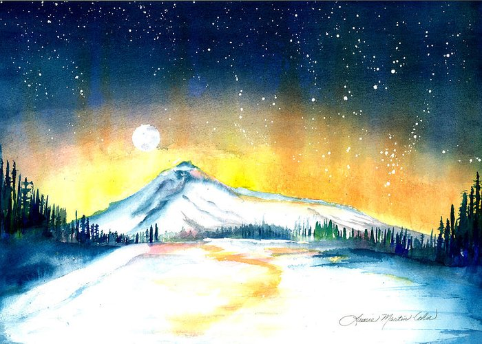 Lake Greeting Card featuring the painting Mount Hood's Starry Crown by Laurie Martin-Cohn