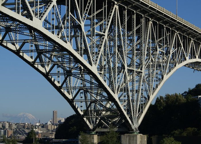 Architecture Greeting Card featuring the photograph Aurora Bridge - Seattle by Sonja Anderson