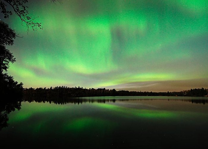 Aurora Borealis Greeting Card featuring the photograph Aurora Over Tofte Lake by Larry Ricker