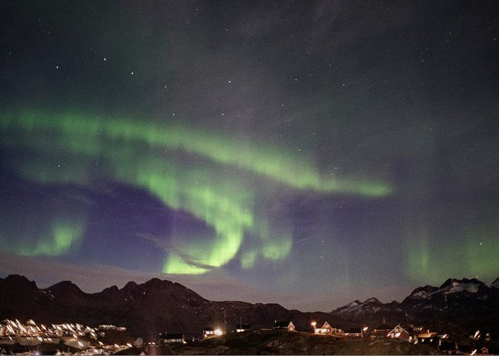 Aurora Greeting Card featuring the photograph Aurora Tasiilaq And Dipper Greenland 7872 by Bob Neiman