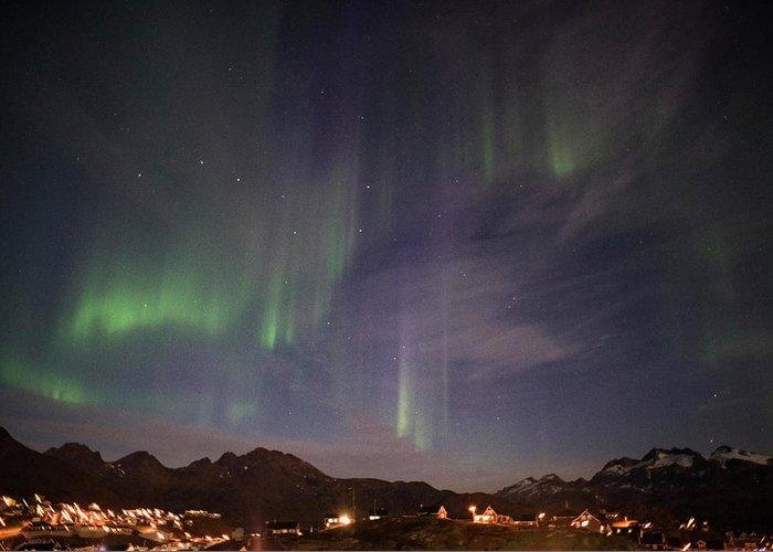 Aurora Greeting Card featuring the photograph Aurora Tasiilaq And Dipper Greenland 7890 by Bob Neiman