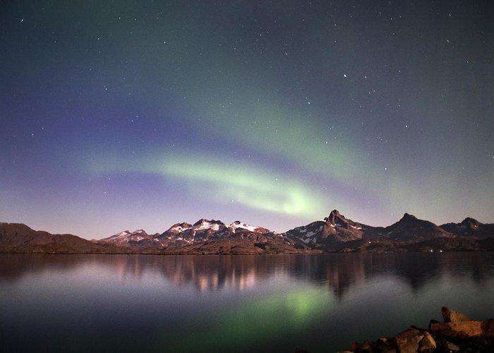 Aurora Greeting Card featuring the photograph Aurora Tasiilaq Greenland 7279 by Bob Neiman