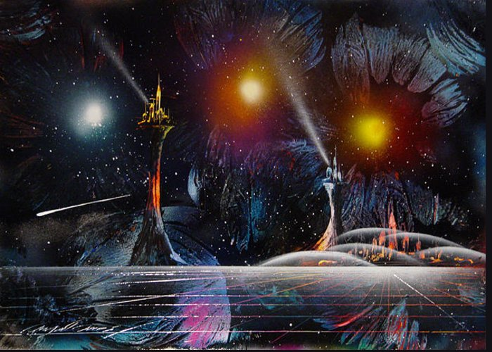 Space Greeting Card featuring the painting Auroras by Angel Ortiz