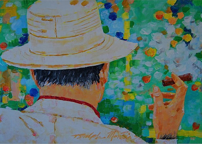 People Greeting Card featuring the painting Aurturo Fuente by Art Mantia