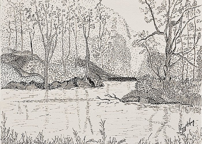 River Greeting Card featuring the drawing Ausable River At Rock Glen by Peggy King