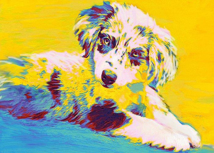 Aussie Greeting Card featuring the digital art Aussie Puppy-yellow by Jane Schnetlage