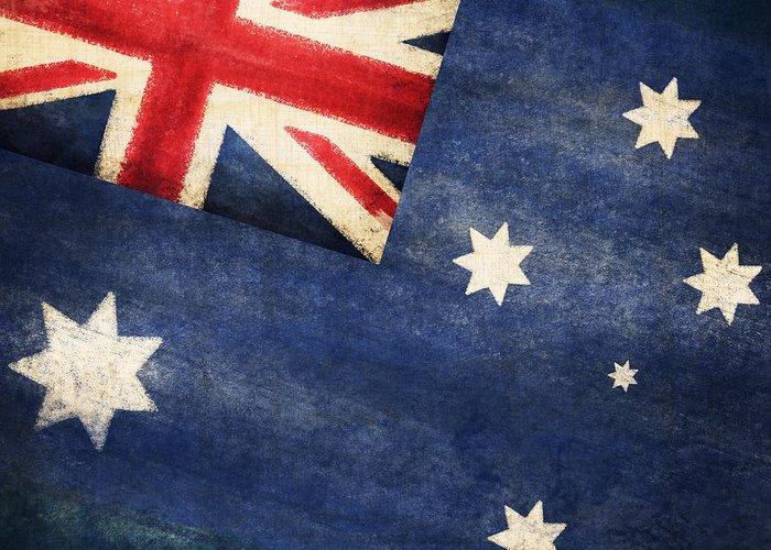 Abstract Greeting Card featuring the photograph Australia Flag by Setsiri Silapasuwanchai