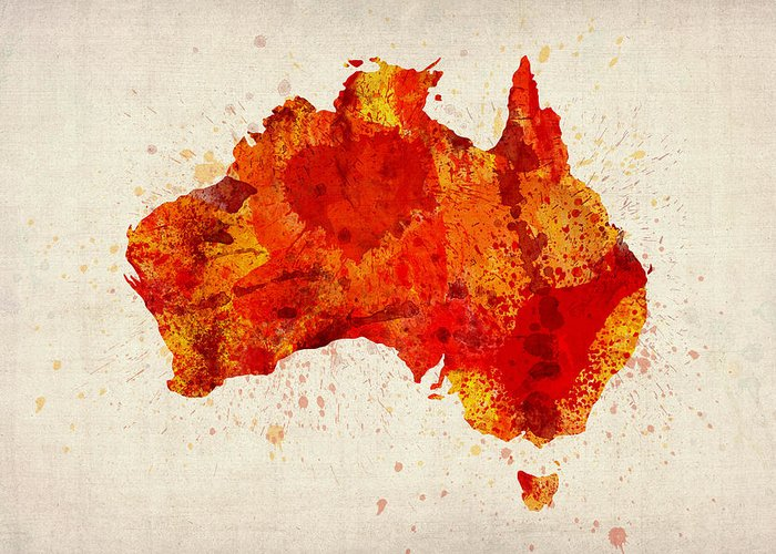 Australia Map Greeting Cards