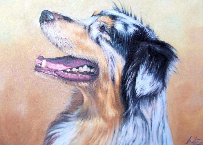 Dog Greeting Card featuring the painting Australian Shepherd Dog by Nicole Zeug