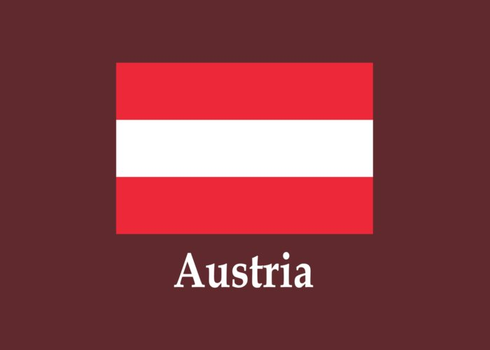 austria flag and name greeting card for sale by frederick holiday
