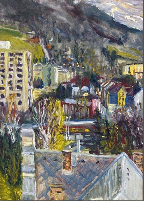 Landscape Greeting Card featuring the painting Auta A Vlak-cviceni Okamziku by Pablo de Choros