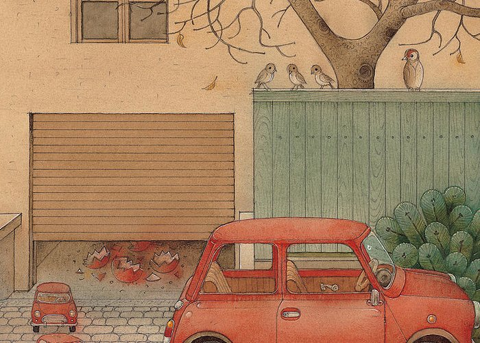 Car House Automobile Egg Red Tree Greeting Card featuring the painting Automobile by Kestutis Kasparavicius