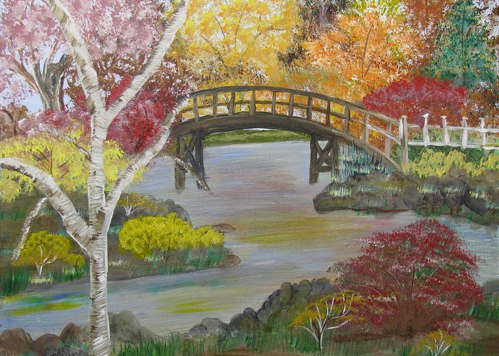 Landscape Greeting Card featuring the painting Autum Bridge by Mikki Alhart