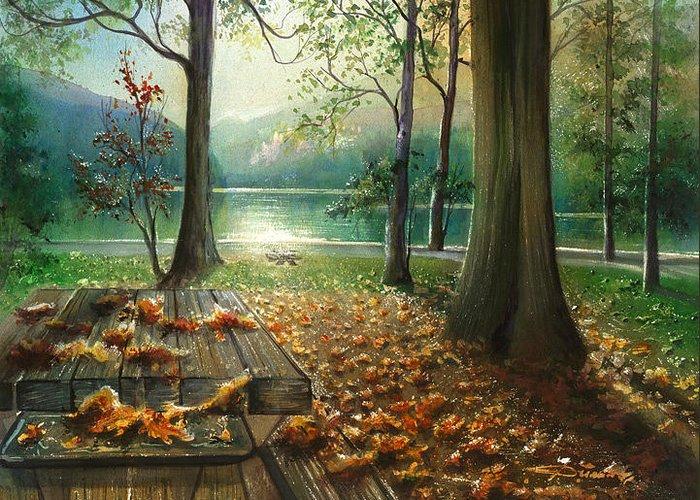 Landscape Greeting Card featuring the painting Autum Splendor Bunzen Lake by Dumitru Barliga