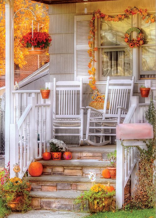 Savad Greeting Card featuring the photograph Autumn - House - My Aunts Porch by Mike Savad