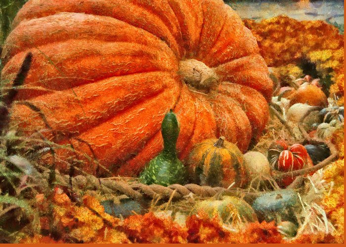 Savad Greeting Card featuring the photograph Autumn - Pumpkin - Great Gourds by Mike Savad