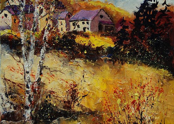 Landscape Greeting Card featuring the painting Autumn 569021 by Pol Ledent