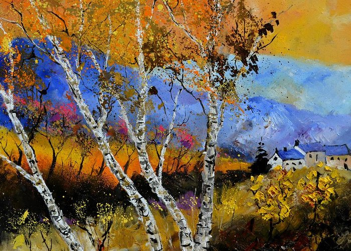 Lanscape Greeting Card featuring the painting Autumn 61301 by Pol Ledent
