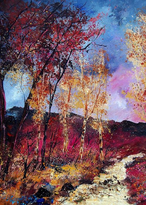 Landscape Greeting Card featuring the painting Autumn 760808 by Pol Ledent