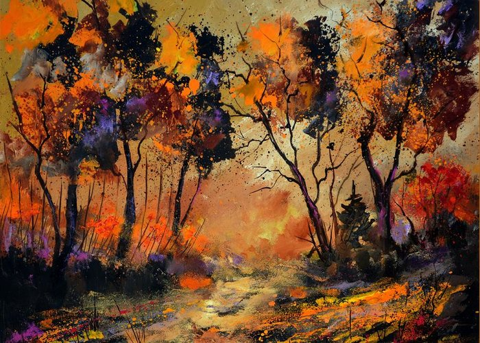 Landscape Greeting Card featuring the painting Autumn 766130 by Pol Ledent