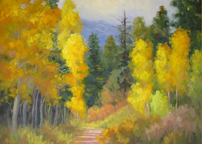 Autumn Greeting Card featuring the painting Autumn Ambience by Bunny Oliver