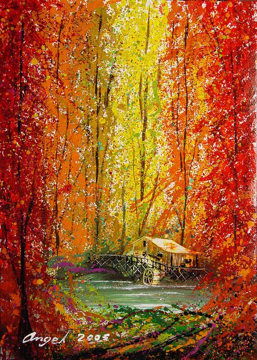 Impressionistic Splash Drops Greeting Card featuring the painting Autumn by Angel Ortiz