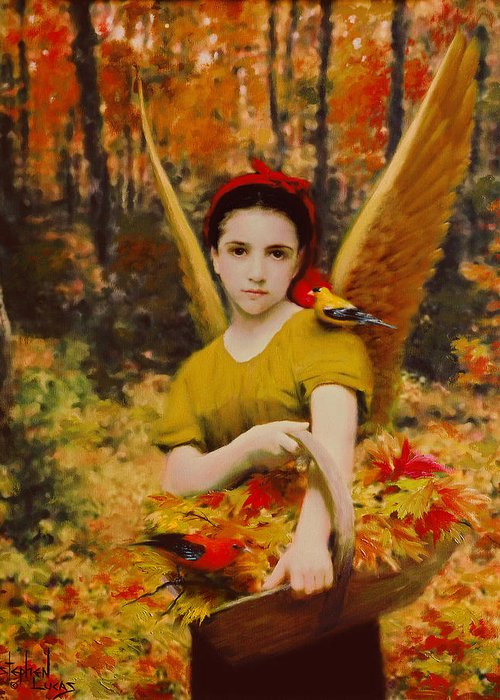 Angel Greeting Card featuring the painting Autumn Angels by Stephen Lucas
