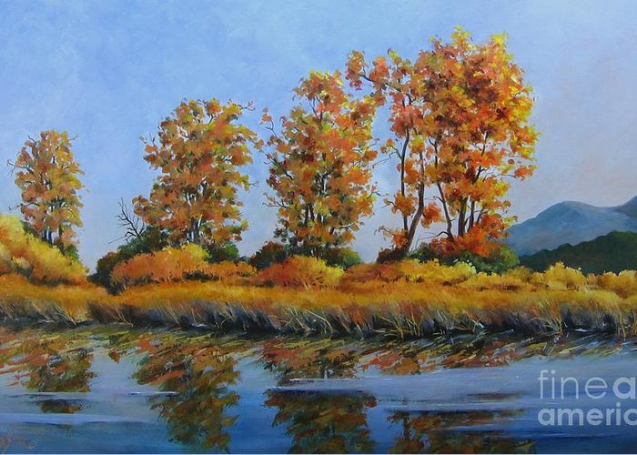 Landscape Greeting Card featuring the painting Autumn At Fraser Valley by Marta Styk
