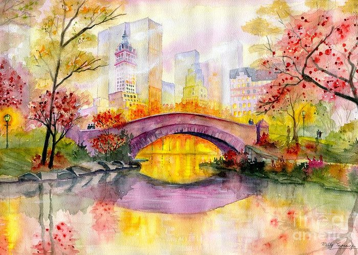 Autumn At Gapstow Bridge Central Park Greeting Card featuring the painting Autumn at Gapstow Bridge Central Park by Melly Terpening
