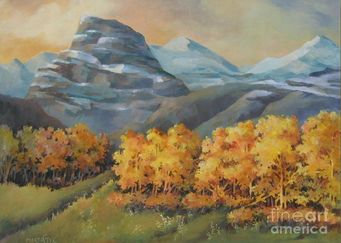 Landscape Greeting Card featuring the painting Autumn At Kananaskis by Marta Styk