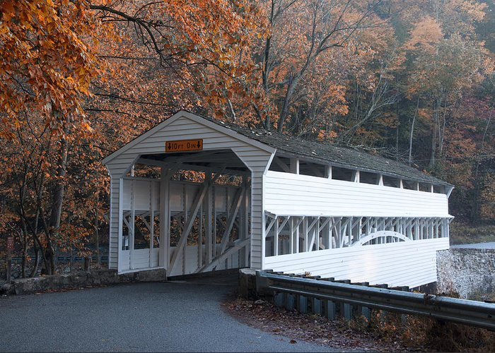 Autumn Greeting Card featuring the photograph Autumn At Knox Covered Bridge In Valley Forge by Bill Cannon