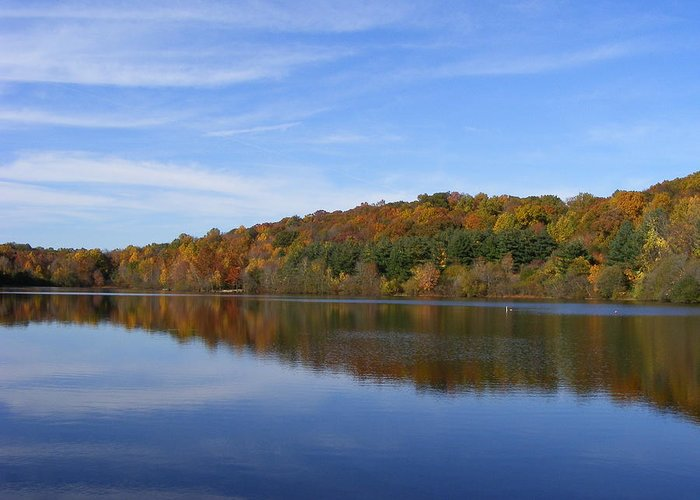 Lake Greeting Card featuring the photograph Autumn At Lake Mohegan by Margie Avellino