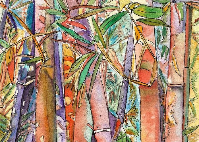 Bamboo Greeting Card featuring the painting Autumn Bamboo by Marionette Taboniar