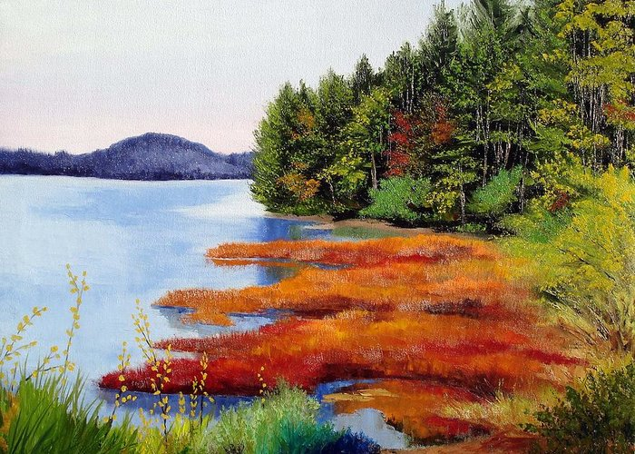Maine Nature Oil Paintings Original Art Greeting Card featuring the painting Autumn Bay Marsh by Laura Tasheiko