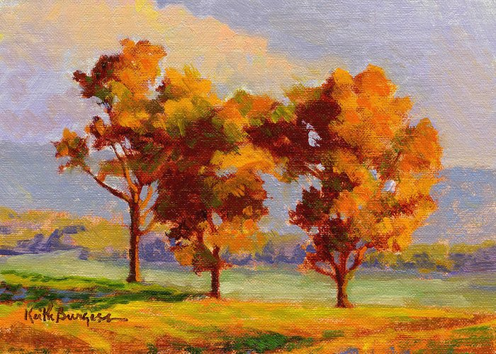Impressionism Greeting Card featuring the painting Autumn Beauties by Keith Burgess