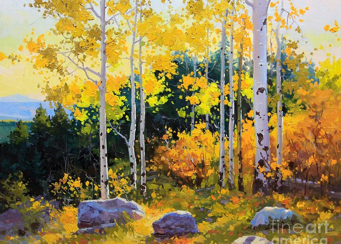 Nature Greeting Card featuring the painting Autumn beauty of Sangre de Cristo mountain by Gary Kim