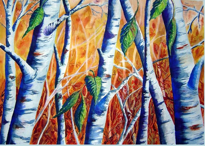 Autumn Birch Trees Greeting Card featuring the painting Autumn Birch by Joanne Smoley