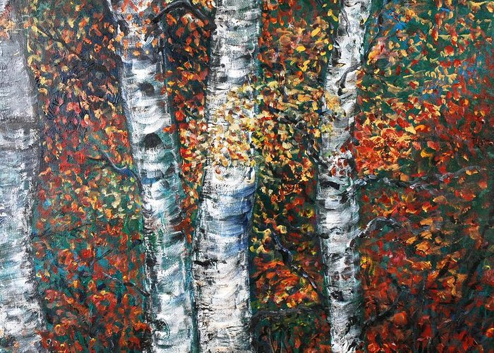 Birch Greeting Card featuring the painting Autumn Birch by Nadine Rippelmeyer