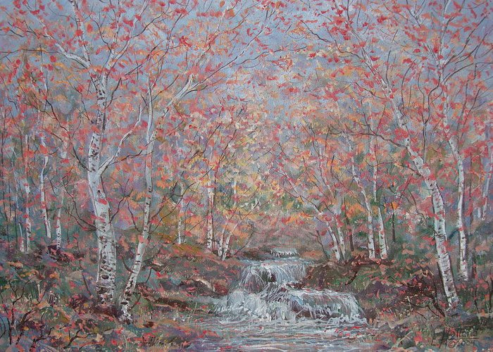 Landscape Greeting Card featuring the painting Autumn Birch Trees. by Leonard Holland